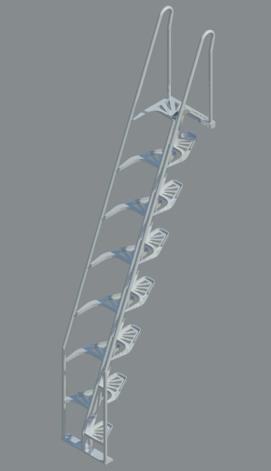 Alternating Tread Stair   Aluminum   68°, REVIT ...