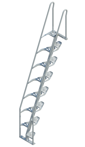 Merveilleux Alternating Tread Stairs, Aluminum, 68°, REVIT ...